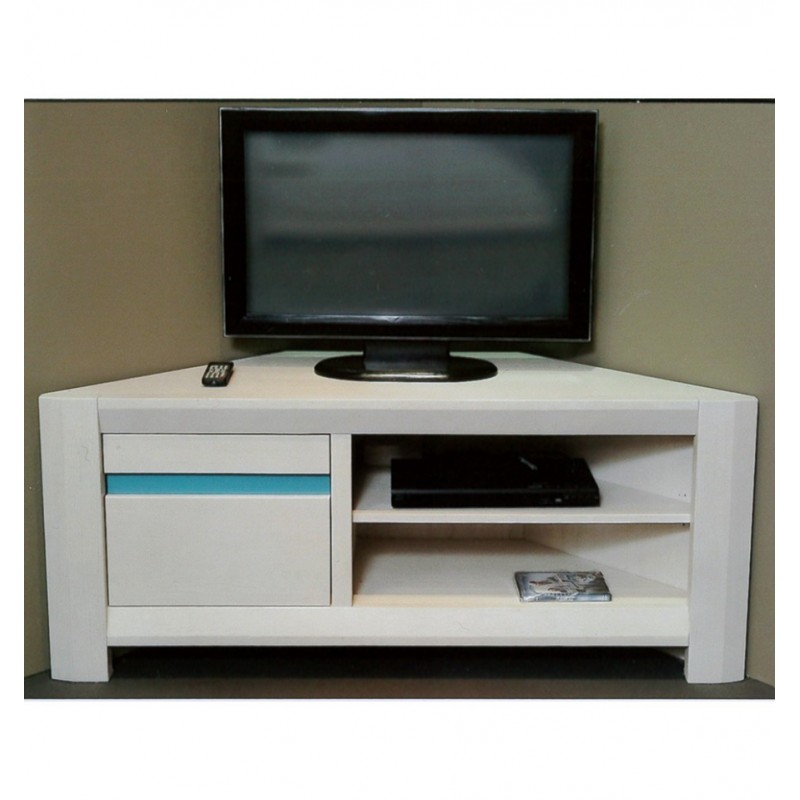 Meuble tv dangle acacia massif beauregard - Meuble tv d angle blanc ...