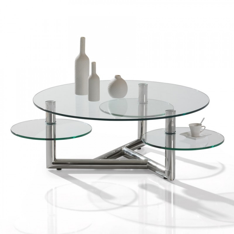 Table de salon en verre 3 plateaux manhattan motard - Table salon en verre ...