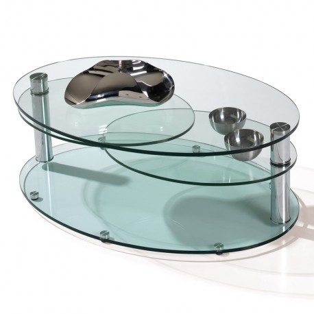 Table de salon ovale 4 plateaux Manhattan - Motard